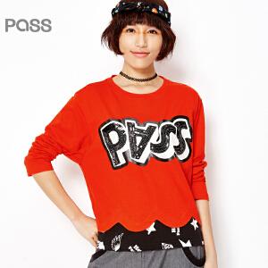 PASS女装春装新款 蝙蝠袖拼接下摆撞色短款百搭字母亮片T恤女6610111017
