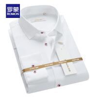 Romon/罗蒙长袖衬衫100%纯棉中青年男士休闲工装衬衣免烫职业装