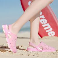 包头果冻洞洞鞋女海边沙滩拖鞋凉鞋平底百搭拖鞋女包头拖鞋沙滩鞋