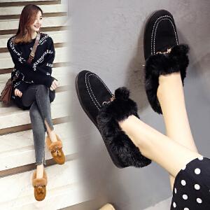女式 厚底流苏毛毛鞋薄绒豆豆鞋秋冬新款雪地靴加绒棉鞋女