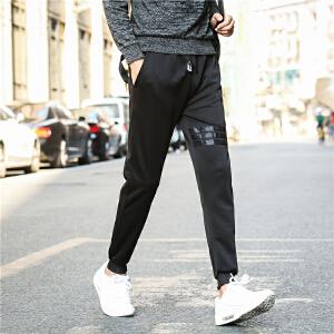 2017秋季简约男士时尚运动针织条纹束脚休闲裤
