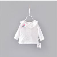 薄款梭织镂空花边T 女童打底衫长袖春夏纯棉T恤 婴儿宝宝翻领上衣