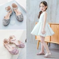 女童凉鞋夏季儿童包头水晶鞋中大童表演小高跟公主鞋