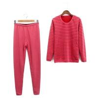 保暖套装 冬新款女装圆领长袖条纹上衣+松紧高腰弹力加绒长裤 红条A-6西