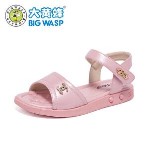 大黄蜂童鞋 2018新款女童露趾凉鞋 夏季女孩韩版中大童学生公主鞋