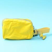 多色便携零钱包帆布双层拉链手拿包钥匙包手机包挂饰 黄色