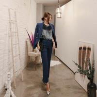 2018秋冬新款韩版修身收腰套装女时尚小西装外套气质喇叭裤两件套