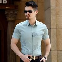 夏季男士短袖衬衫中年男装夏装半袖上衣宽松版商务休闲男薄款衬衣