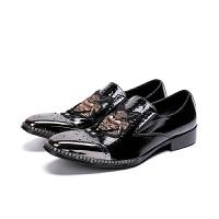 韩版男士秋季鞋新款休闲男皮鞋英伦潮流时尚男鞋子真皮漆皮方头鞋真皮 黑色