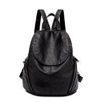 韩新款皮羊皮双肩包女包休闲大容量背包女士旅行大包女 黑色 收藏赠送手拿包