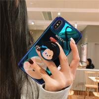迪士尼iPhoneX手机壳苹果7plus/8米妮米奇xs max蓝光软XR 6/6s 蓝底米奇+支架