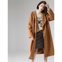 初语毛呢外套女秋季新款驼色连帽宽松系带长款保暖呢子大衣