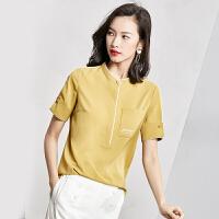 梵希蔓小立领衬衫女短袖2018夏装韩版雪纺衫女装上衣