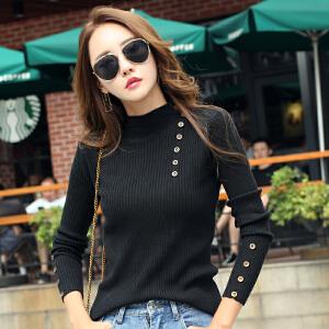 新款秋冬半高领黑色女式针织衫韩版显瘦秋款长袖纽扣套头毛衣