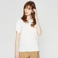 MECITY女新款圆领心机刺绣设计ins短袖T恤韩版