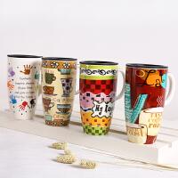 创意马克杯大容量带盖水杯喝水杯子咖啡杯家用潮流情侣陶瓷杯茶杯