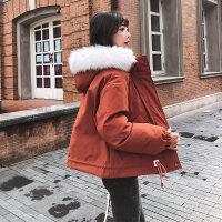 冬季棉衣女2018新款韩版轻薄女士ins韩国面包服短款冬季毛领外套