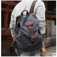 双肩包男女背包伦帆布旅行包电脑包时尚潮流休闲学生书包英