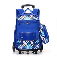 新款小学生拉杆书包3-6年级初中男女儿童学生双肩背包书包潮流户外旅行午餐包斜跨单肩包