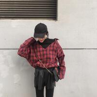 复古韩国chic风假两件拼接大V领宽松套头长袖格子衬衫女上衣