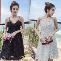 海边度假沙滩裙2018夏直播衣服女主播上镜超仙性感夜店吊带连衣裙