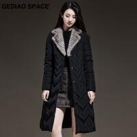 格调空间2018冬季新款羽绒服女中长款黑色时尚 毛领修身外套潮 黑色