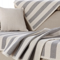 美式条纹棉麻真皮沙发垫巾套扶手靠背巾布艺四季通用纯棉组合客厅 灰色 竖条。灰色