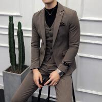 №【2019新款】冬天穿的西服套装男2018新款加厚格子韩版修身帅气小西装三件套发型师
