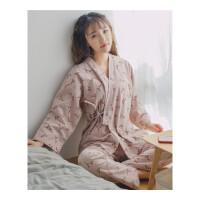 情侣睡衣 秋冬磨毛日式和风女清新和服家居服男长袖套装 皮粉色 女款