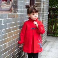 女童旗袍连衣裙秋冬加厚儿童长袖中国风公主裙女宝宝改良唐装 红色