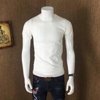 冬季男士大码短袖潮圆领针织衫半袖毛衣男修身韩版套头纯色打底衫