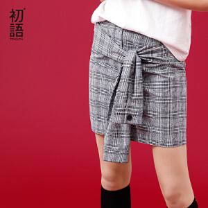 初语 2018夏季新款 英伦风条纹格仔宽松绑带半身裙女休闲短裙