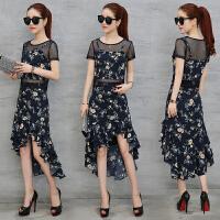 套装裙子两件套 2018夏装新款短袖雪纺连衣裙女中长款韩版夏季