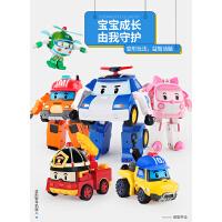 珀利poli安巴罗伊消防警车变形波利警长车套装汽车机器人儿童玩具