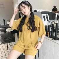 韩版时尚休闲套装夏装女装宽松连帽纯色短袖T恤上衣+短裤两件套潮 均码