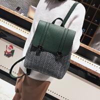 大包包女2018春季新款格子女包百搭休闲双肩包时尚大容量旅行背包