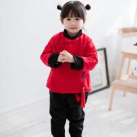 女童冬新年装唐装拜年服男童汉服中国结喜庆中式挂件毛呢宝宝套装