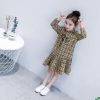 女童连衣裙 春装新款韩版长袖儿童裙子 小女孩洋气格子裙