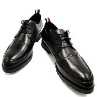 男士布洛克正装鞋子复古韩版厚底青年英伦系带尖头休闲皮鞋男商务