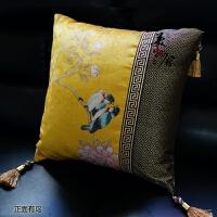 靠垫沙发靠垫 新中式 国画靠垫 抱枕 新古典田园花鸟