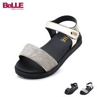 百丽Belle童鞋新款儿童凉鞋时尚亮彩格力特学生凉鞋轻软舒适大底女童休闲鞋(5-10岁可选)  DE0560