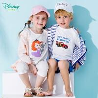 【139元4件】迪士尼Disney童装 儿童外套纯棉汗布条纹春季新品上衣男女宝宝卡通休闲卫衣服191S1103