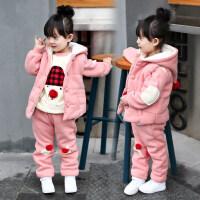 女童冬装三件套童装2018新款韩版宝宝加绒加厚衣服3-5岁儿童套装