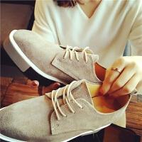 春秋小皮鞋女英伦风韩版学院圆头系带单鞋内增高平底布洛克女鞋潮