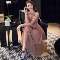 2019春装新款女装法式复古裙子秋冬季山本超仙蕾丝连衣裙过膝长裙