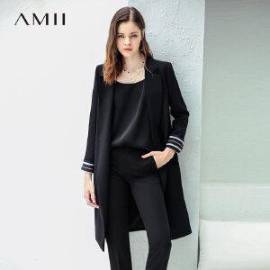 Amii极简中性欧美范chic西装女2018秋新翻领撞色条纹正装suit外套.