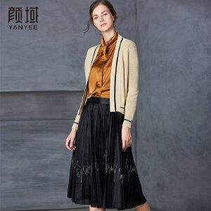 颜域秋装女2018新款品牌女装时尚开衫修身显瘦长袖针织衫外套薄款