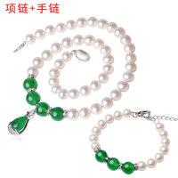 珍珠项链正圆形天强光然均匀淡水白珍珠项链送妈妈长辈银吊坠礼物 +手链
