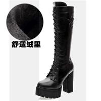 2018欧美马丁靴真皮女高筒靴高跟瘦腿长靴绑带厚底粗跟高靴女靴子SN8995