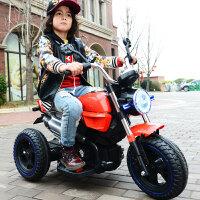 儿童电动车摩托车双驱双电三轮车童车男女小孩宝宝玩具车可坐人 莱卡红